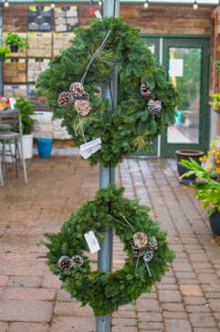 Live Evergreen Square Wreath with Pine Cones & Other Decor
